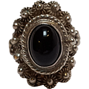 Taxco sterling silver poison ring black onyx
