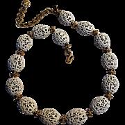 Monet white filigree metal bead necklace