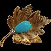 Trifari leaf pin turquoise blue cabochon and rhinestone