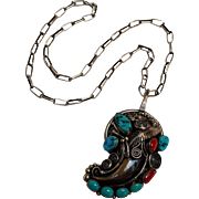 Fannie Platero Navajo sterling silver bear claw turquoise coral pendant necklace
