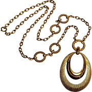 Trifari Mod pendant necklace gold tone