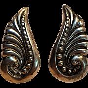 Gerardo Lopez Taxco sterling Mexico earrings stylized wing leaf