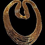 Monet five strand chain necklace gold tone