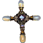 Sajen sterling silver gemstone cross pin pendant