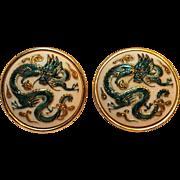 Toshikane enamel on porcelain dragon clip earrings Japan