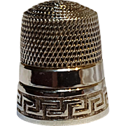 Simons Bros sterling silver thimble Greek key border