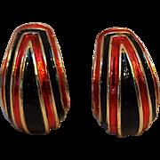 Trifari red black soft enamel clip earrings