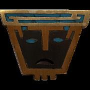 Piedra Negra Taxco Mexico Tono sterling inlay mask pin