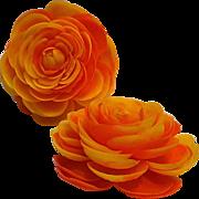 Shoe clips soft plastic petal flower orange