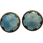 Volmer Bahner blue guilloche enamel clip earrings