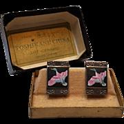 Toshikane silver enamel porcelain earrings ducks original box