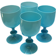 Portieux Vallerysthal blue opaline milk glass water Goblets PV France
