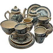 Little Mae Pet tea set childs Allerton Staffordshire transferware 1890 flow blue 21 pc