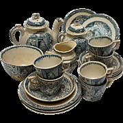 Little Mae Pet tea set Allerton Staffordshire transferware 1890 flow blue 21 pc