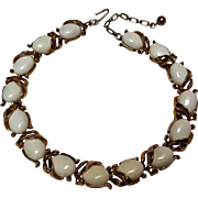 Trifari choker necklace white lucite cabochons