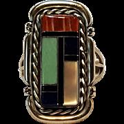 Running Bear sterling silver stone inlay ring