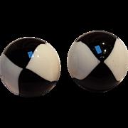 Trifari Mod clip earrings black white lucite dome