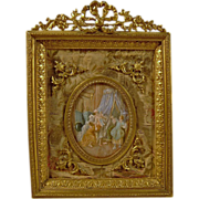 19th Century Miniature Painting in Gilt Bronze Ormolu Frame  French Opéra Bouffe Boudoir Scen