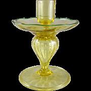 Victor Durand Art Glass Spanish Yellow Candlestick