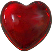 Baccarat France Cupid Heart Red Crystal Paperweight