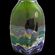 Jack Ink Studio Art Glass Landscape Vase