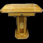 REDUCED Folk Art Pedestal Table with Pyrography Penguin & Seahorse Décor