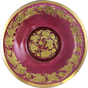 Moser Bohemian Ruby Glass Bowl with Gold Gilt Enamel