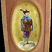 Antique French Faience Polychrome Enamel Ceramic Plaque