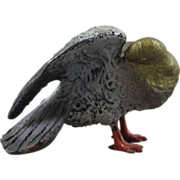 Cold Painted Miniature Austrian Bronze Model of a Preening Bird