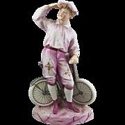 Gebruder Heubach Bisque Porcelain Figure of Boy Bicycle