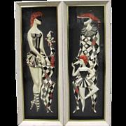 Mid-Century Modern Harlequin Shadow Box Wall Art