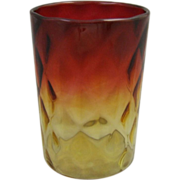 Victorian Glass Amberina Glass Tumbler Diamond Optic