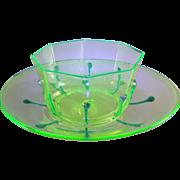 Venetian Murano Vaseline Uranium Glass Bowl and Underplate