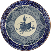 Ceramic Charger with Blue & White Transfer Decoration & Embossed Border