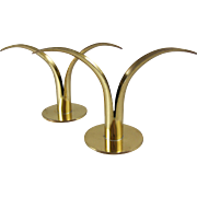 SOLD Scandinavian Mid Century Tbe Ronst Ystad Brass Candle Holder Pair