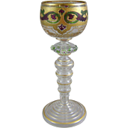 Circa 1900 Bohemian Glass Enameled Goblet