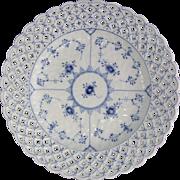 "Royal Copenhagen Denmark Blue Fluted Full Lace Porcelain Reticulated Plate 10.2"""