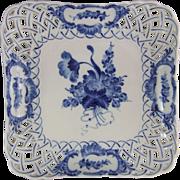 Royal Copenhagen Blue Flowers Kuchenplatte Viereckig Reticulated Cake Plate