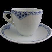 Royal Copenhagen Porcelain Blue Fluted Princess Cup and Saucer Set