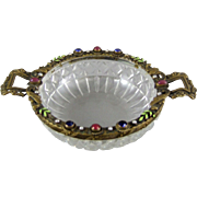 A Czechoslovakia Patinated Bronze Mounted Cut Glass Dresser Vanity Dish with Faux Jewels