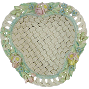 Irish Belleek Woven Porcelain 4 Strand Erne Basket