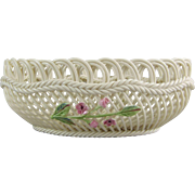 Belleek Ireland Three Strand Woven Porcelain Basket 2001