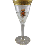 Moser Karlsbad Splendid Crystal Wine Glass with Spanish Royal Coat of Arms