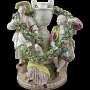 Antique Porcelain Figural Group Mantle Vases Meissen Crossed Swords