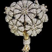 Vintage 50's Halbe Flower Bouquet Rhinestone Brooch