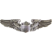 Sterling Silver AMICO WWII Army Air Force Pilot Wings Clutch Back Pin