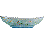 Moser Celeste Blue Crackle Glass Boat Shaped Bowl