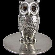 An English Sterling Silver Owl Menu Holder