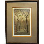 REDUCED Cherokee Artist Paul Lancaster Colored Etching Quiet Sentinel