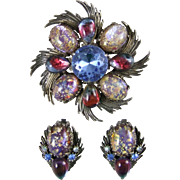 Florenza Glass Foil Opal Brooch and Earring Set